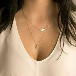 Double Layer Necklace Cute Peace Dove Pendant